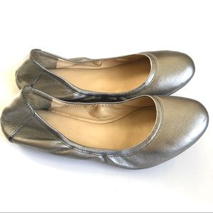 Cole Haan Silver Leather Ballet Flats Size 8